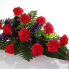 Funeral bouquet of carnations red/blue-thumbnail