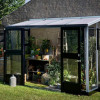 Greenhouse JULIANA VERANDA 4.4 M² with safety glass, aluminum / black color-thumbnail